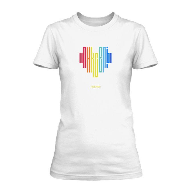 """Футболка """"Разноцветный Пиксель"""" белая, женская"""